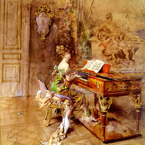 A painting of a woman playing a piano by Giovanni Boldini
