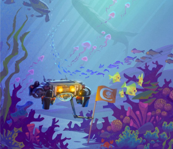 Underwater landscape with Caltech submersible and sea life