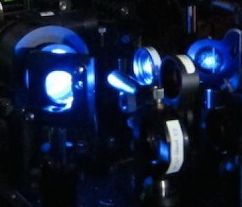 An optical bench in the Faraon lab.