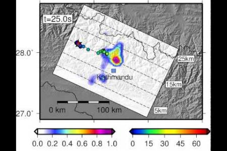 Propagation of April 2015 Mw 7.8 Gorkha Earthquake