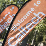 Welcome signs at Caltech's convocation ceremony
