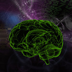 An artist's rendering of a human brain in front of a background of scientific imagery
