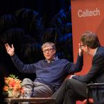 Image of Bill Gates speaking with Dean of Undergraduate Students Kevin Gilmartin