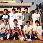 Caltech C soccer team at the Southern California Collegiate Championship, 1997: (front, from left) Daocheng Zheng, Xiaolin Tong, Ying Li, Jiafu Luo, Chao Ku, Hui Li; (back, from left) Luojia Wang, Dazhi Chen, Vincent Kong, Kejian Wu, Weihua Xu, Shuyun Wu,