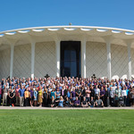 Members of the Cassini science team gather in front of Beckman Auditorium.