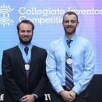 Graduate students Nathan Schoepp and recent graduate Travis Schlappi accept their award at the Collegiate Inventors Competition, held in Alexandria, Virginia, on November 3.