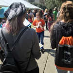 Caltech senior Madelyn Stroder leads a tour of prospective female students and their families at a Caltech Summer Preview event highlighting women in STEM on Friday, July 27.