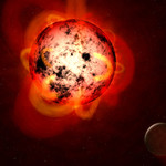 Illustration of red dwarf with planet