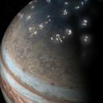 artist's concept of lightning distribution in Jupiter's northern hemisphere
