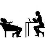 Black and white silhouette of a female counselor interacting with a female patient