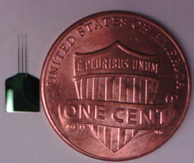 Brain probe compared to a penny