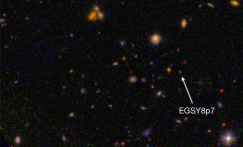 Galaxy EGS8p7 as seen from space telescopes.