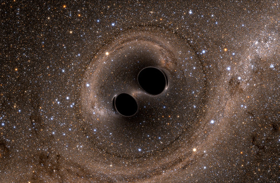 still from a computer simulation of two black holes merging
