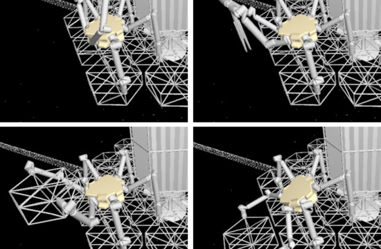 Illustration showing how a robot could assemble the trusses that would support a massive telescope mirror