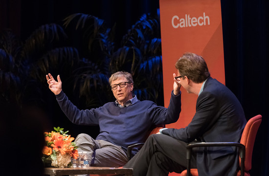 photo of Bill Gates on stage at Caltech