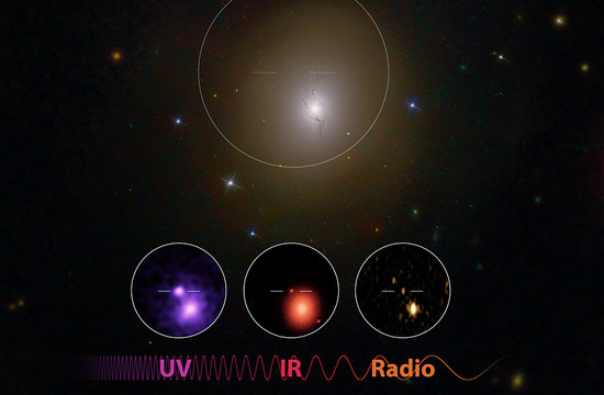 image showing the detection of electromagnetic radiation from the GW170817 neutron star merger in ultraviolet, infrared, and radio