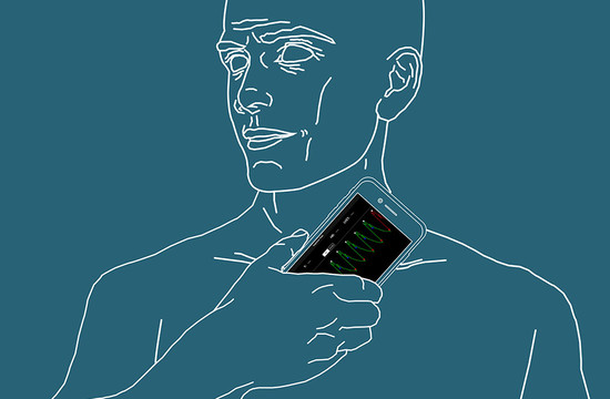 graphic of a man holding a smartphone up to his neck