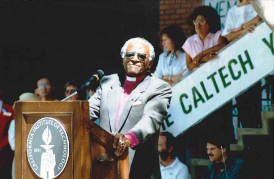 Archbishop Desmond Tutu at Caltech in 1990