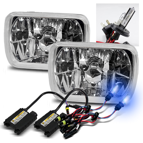 7x6 Semi-Sealed Beam Chrome Crystal Glass Headlights w/ 10000K H4-2 Xenon HID