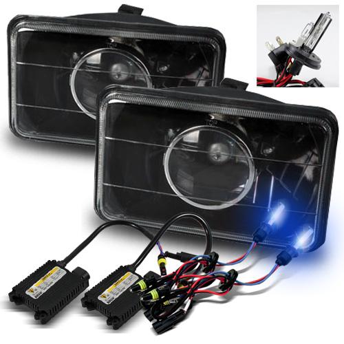 4x6 Semi-Seal Beam Black Glass Lens Projector Headlights + 10000K H4-2 Xenon HID