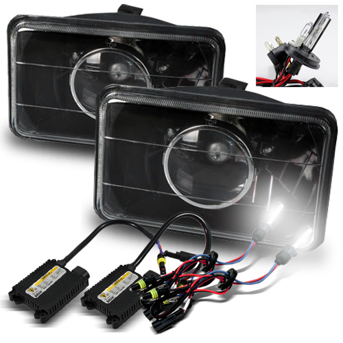 4x6 Semi-Seal Beam Black Glass Lens Projector Headlights + 6000K H4-2 Xenon HID