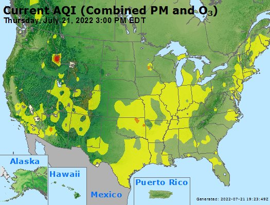AIRNow Southwest U.S. Current-Hour Combined PM2.5 and O3 AQI