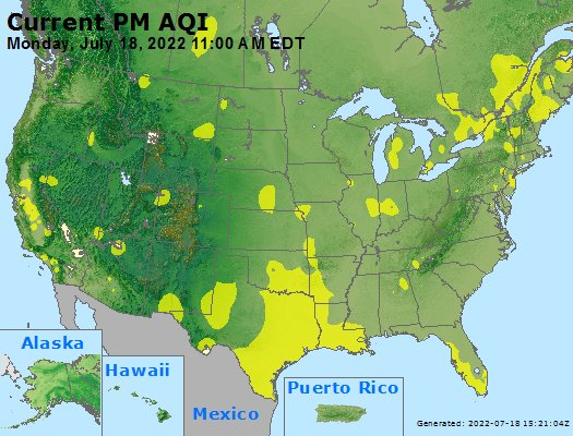 AIRNOW U.S. Hourly PM2.5 AQI Map