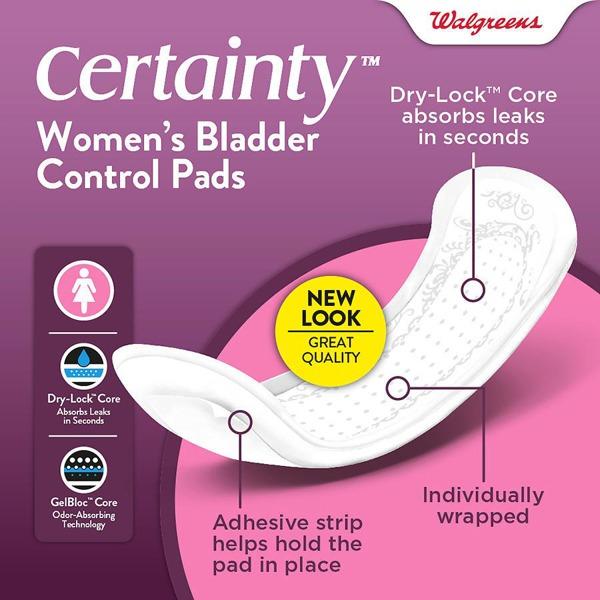 Walgreens Certainty Women'S Bladder Control Pads, Maximum Absorbency, Long Length