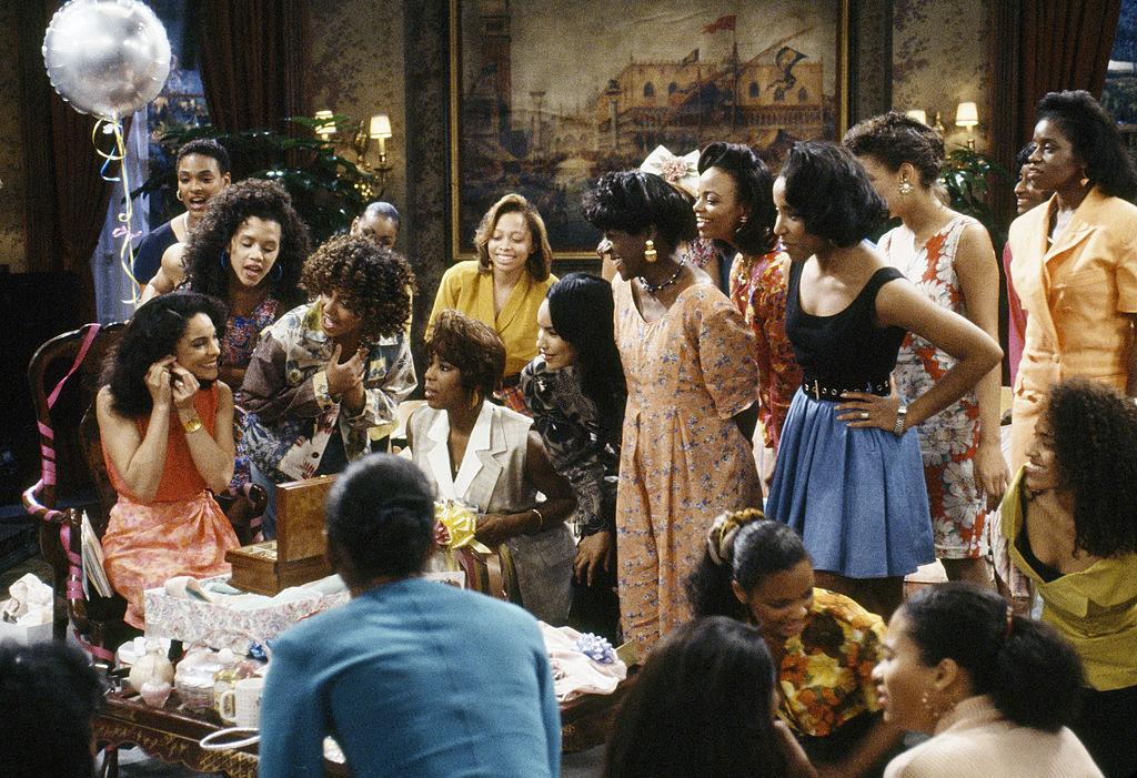 Pictured: (l-r center row) Jasmine Guy as Whitley Marion Gilbert Wayne, Cree Summer as Winifred 'Freddie' Brooks, Dawnn Lewis as Jaleesa Vinson Taylor, unknown, Charnele Brown as Kimberly 'Kim' Reese/Credit: Gene Trindl