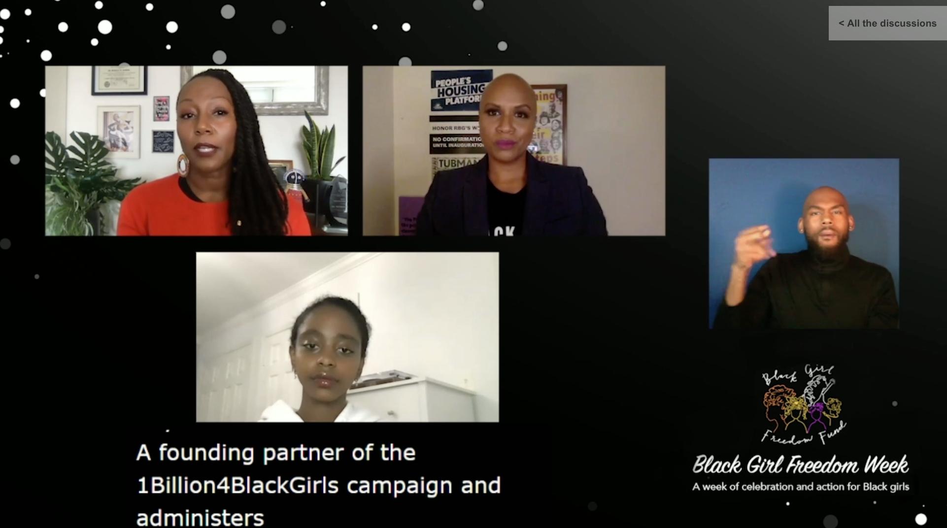 Dr. Monique Morris, Ayanna Pressley and Naomi Wadler/Credit: Black Girl Freedom Fund