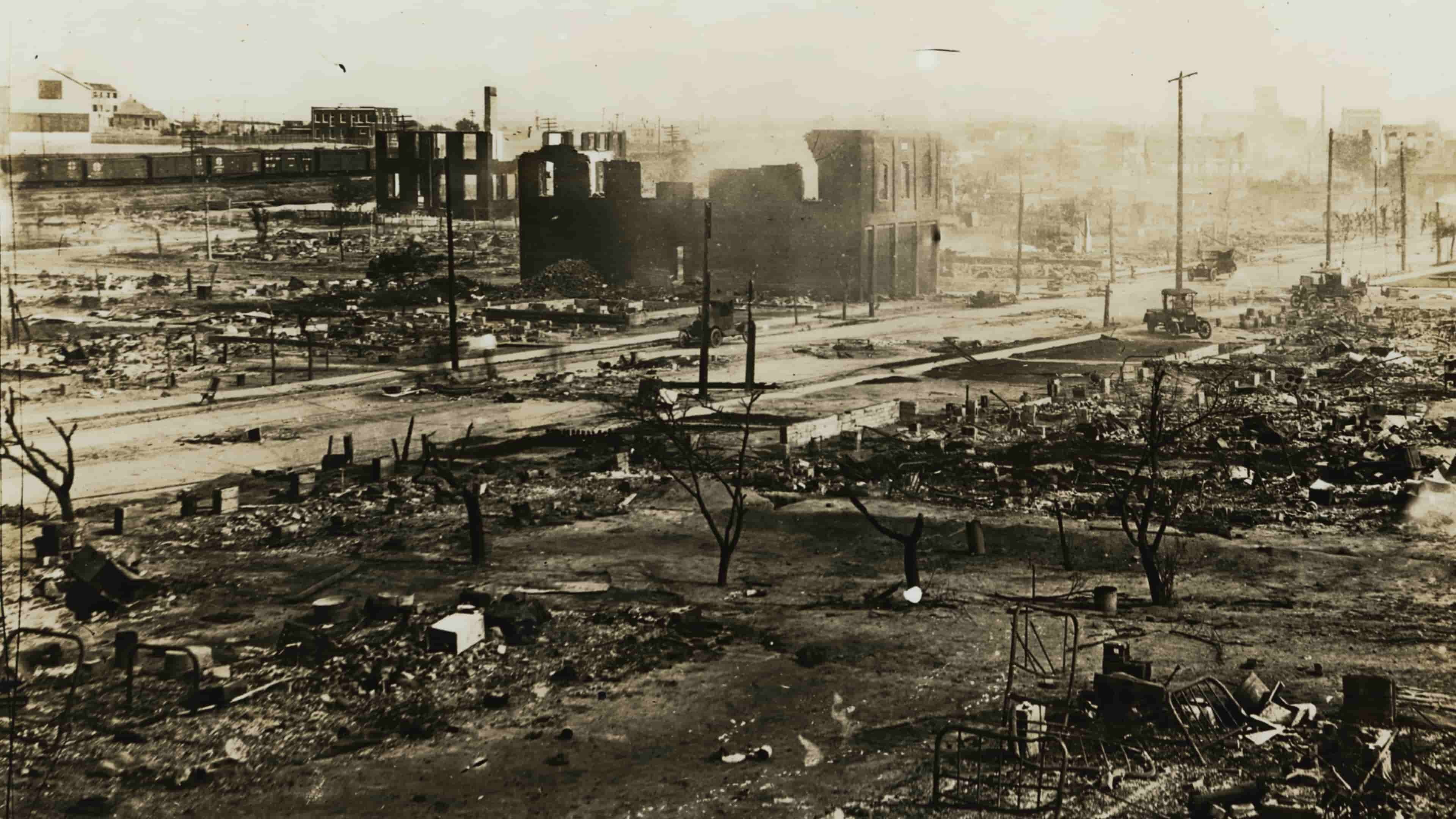 Dreamland: The Burning of Black Wall Street. Aerial-Greenwood aftermath. Photo Credit: Courtesy of Tulsa Historical Society/The Spring Hill Company for CNN Film