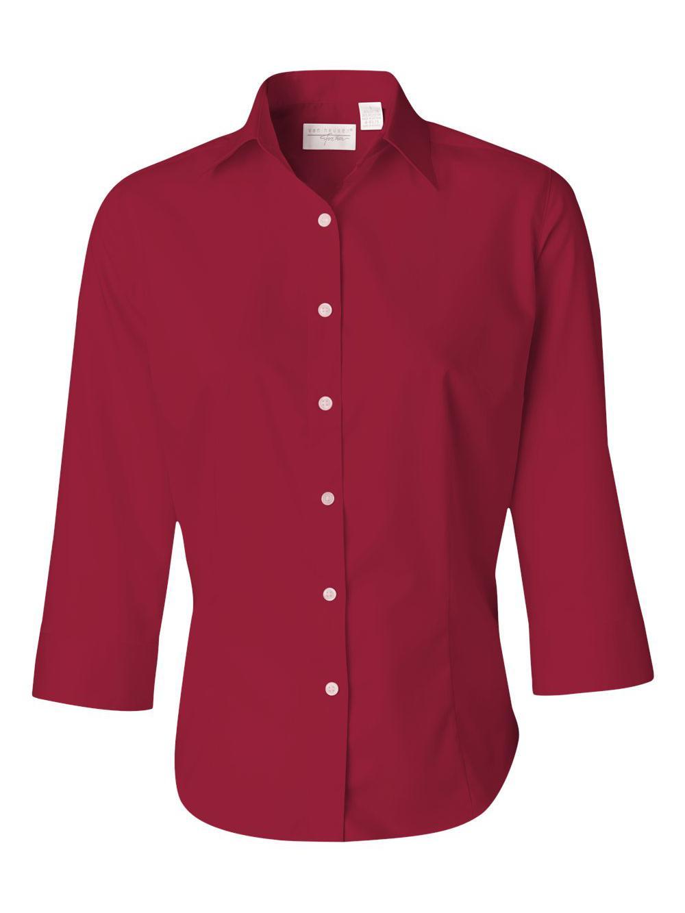 Van-Heusen-Women-039-s-Three-Quarter-Sleeve-Baby-Twill-Shirt-13V0527 thumbnail 15