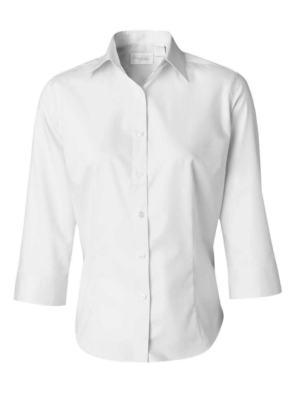 Van-Heusen-Women-039-s-Three-Quarter-Sleeve-Baby-Twill-Shirt-13V0527 thumbnail 18