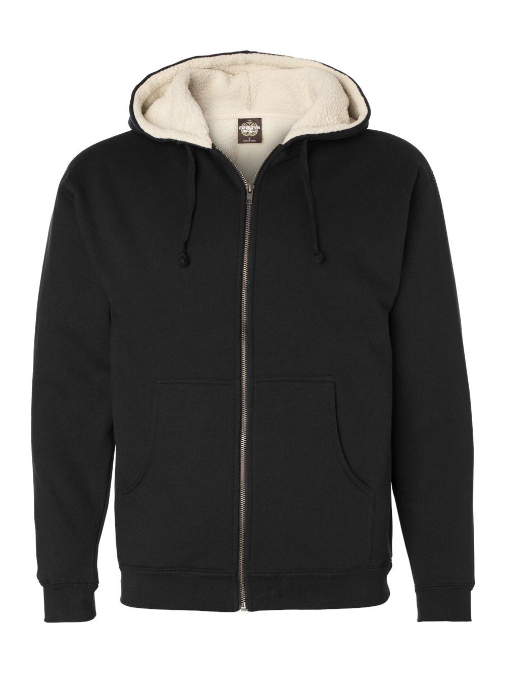 Sherpa Lined Full-Zip Hooded Sweatshirt EXP40SHZ S-4XL Independent Trading Co