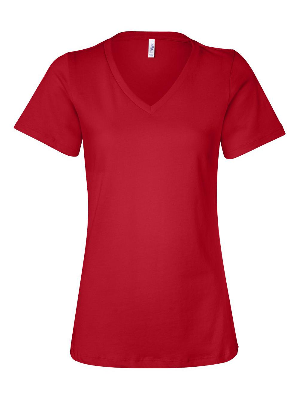 Bella-Canvas-Women-039-s-Relaxed-Short-Sleeve-Jersey-V-Neck-Tee-6405 thumbnail 36