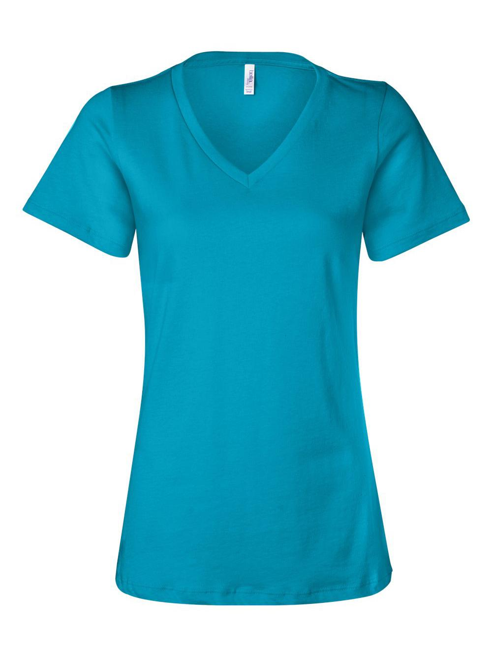 Bella-Canvas-Women-039-s-Relaxed-Short-Sleeve-Jersey-V-Neck-Tee-6405 thumbnail 51