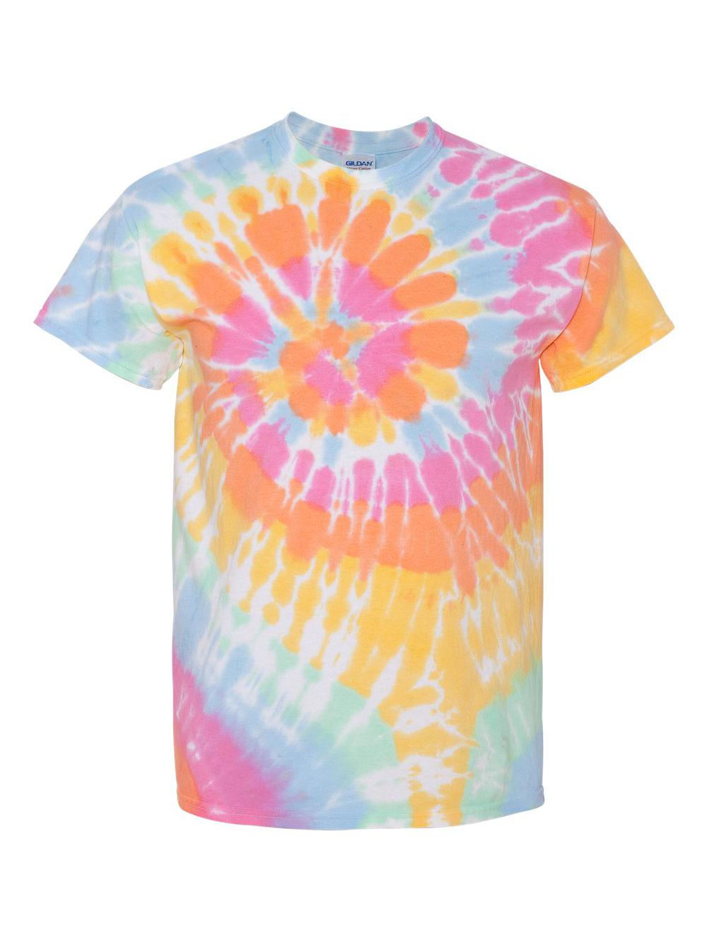 Dyenomite-Multi-Color-Spiral-Short-Sleeve-T-Shirt-200MS thumbnail 3