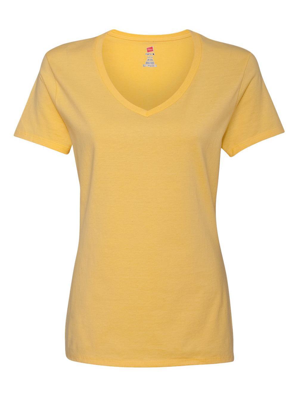 Hanes-Nano-T-Women-039-s-V-Neck-T-Shirt-S04V thumbnail 21
