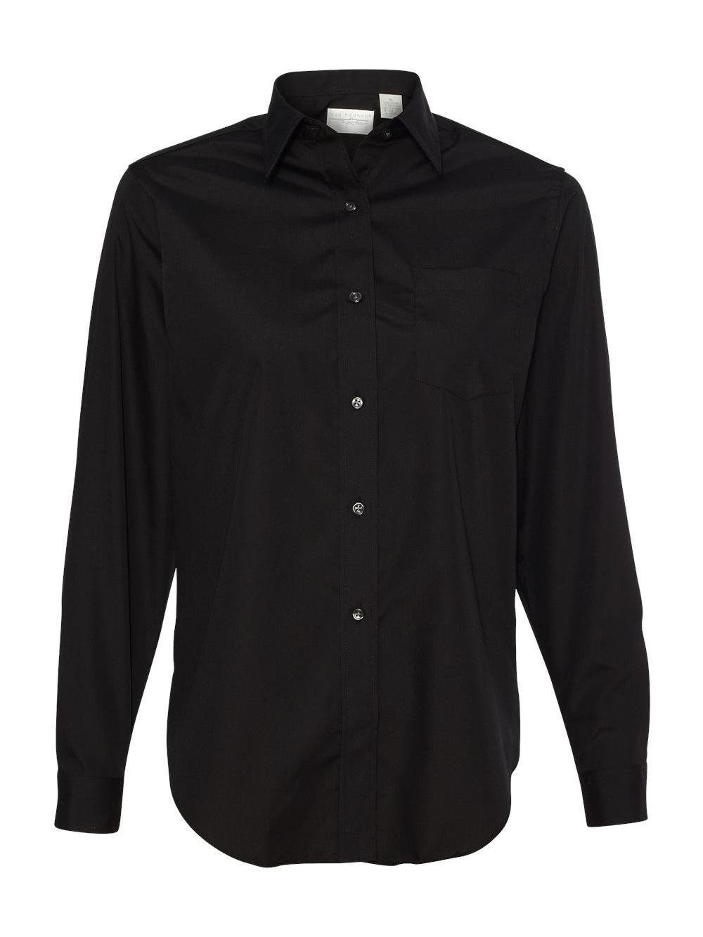 Van-Heusen-Women-039-s-Broadcloth-Long-Sleeve-Shirt-13V0216 thumbnail 3