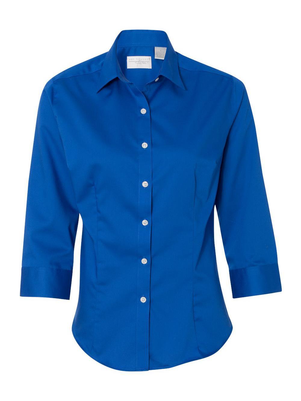 Van-Heusen-Women-039-s-Three-Quarter-Sleeve-Baby-Twill-Shirt-13V0527 thumbnail 12