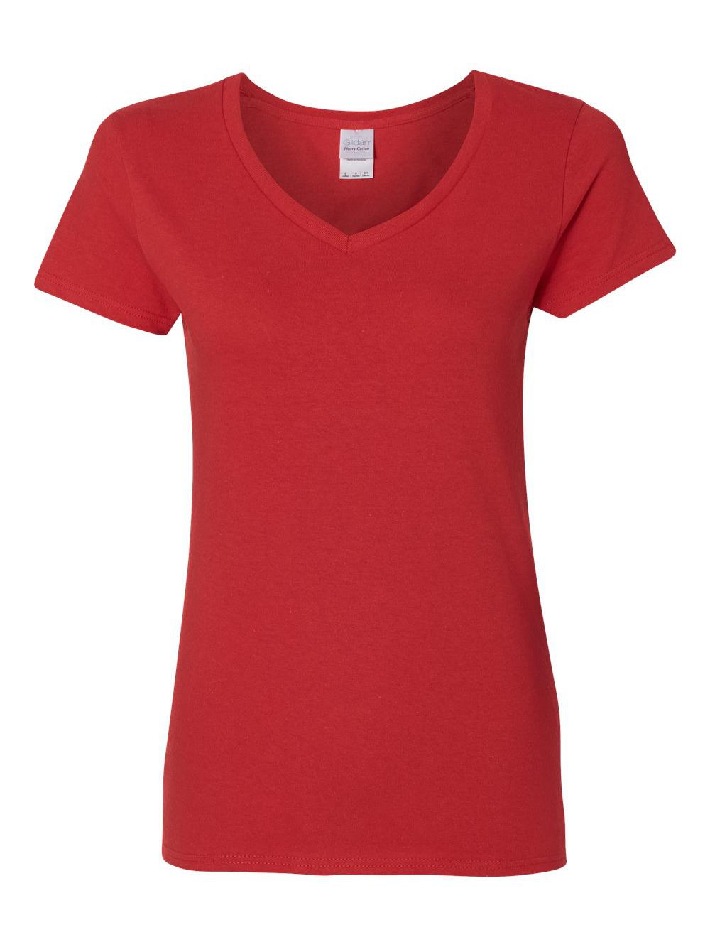Gildan-Heavy-Cotton-Women-039-s-V-Neck-T-Shirt-5V00L thumbnail 39