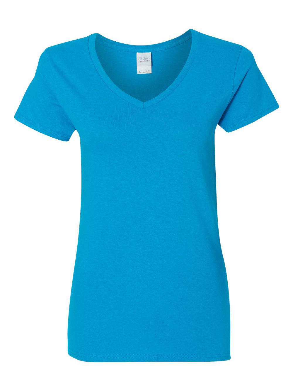 Gildan-Heavy-Cotton-Women-039-s-V-Neck-T-Shirt-5V00L thumbnail 45