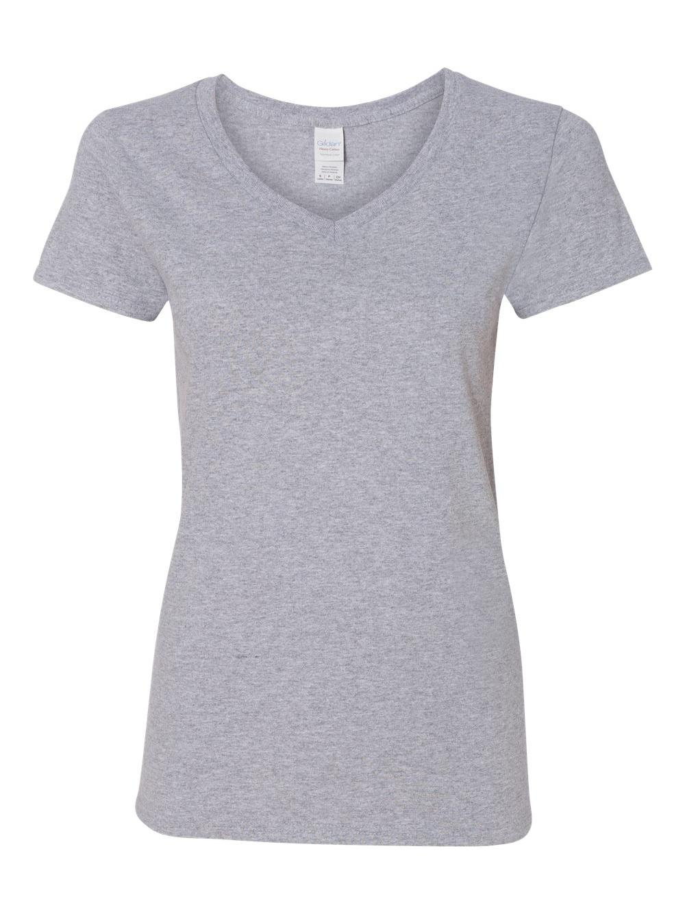 Gildan-Heavy-Cotton-Women-039-s-V-Neck-T-Shirt-5V00L thumbnail 48