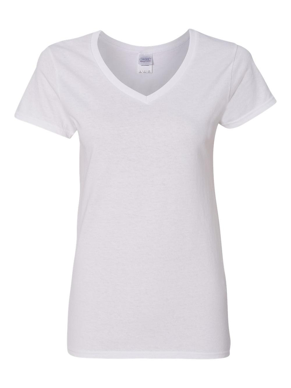 Gildan-Heavy-Cotton-Women-039-s-V-Neck-T-Shirt-5V00L thumbnail 51