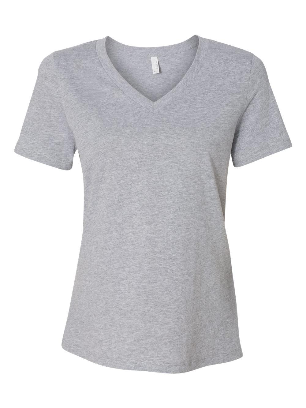 Bella-Canvas-Women-039-s-Relaxed-Short-Sleeve-Jersey-V-Neck-Tee-6405 thumbnail 3