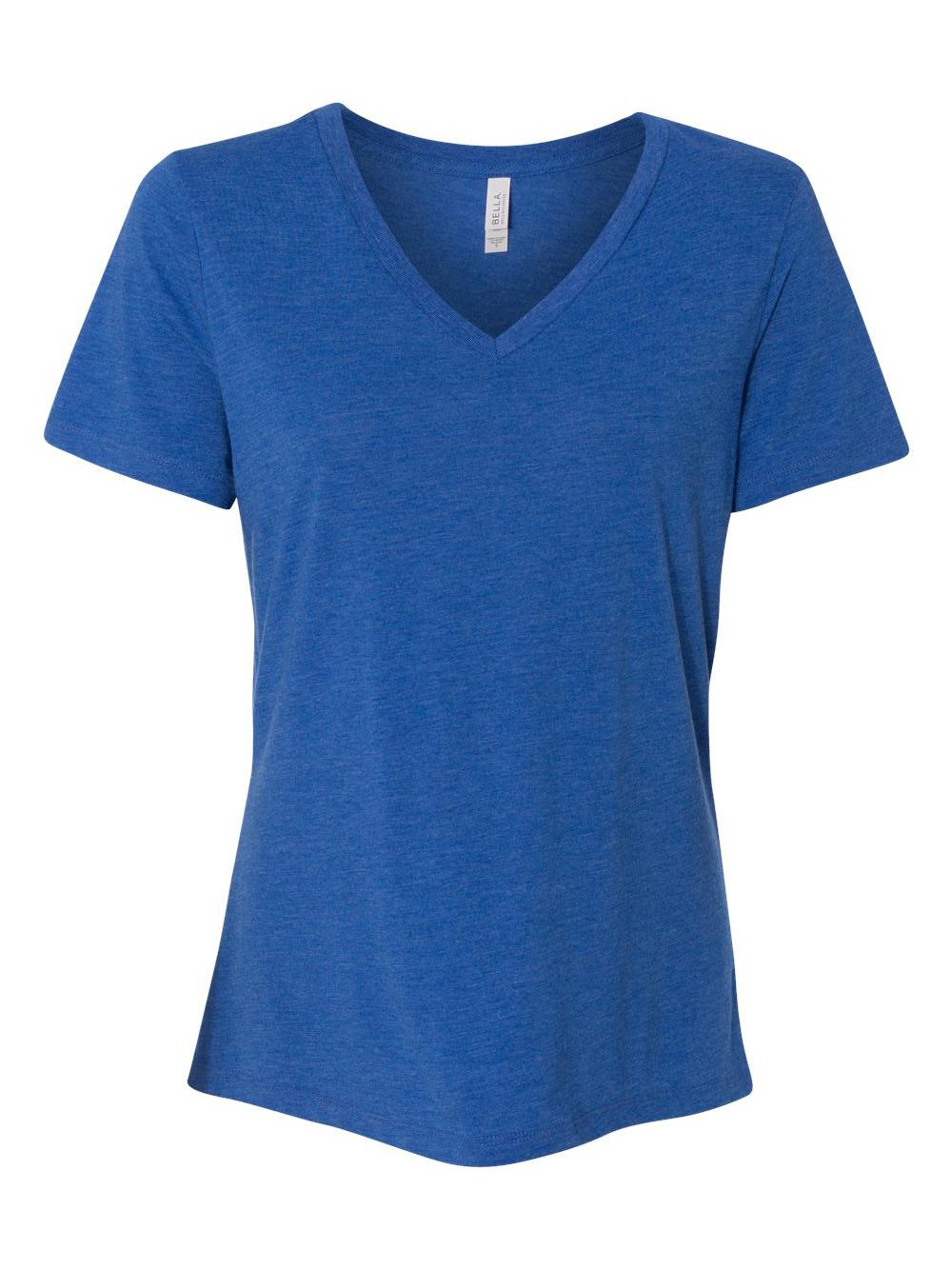 Bella-Canvas-Women-039-s-Relaxed-Short-Sleeve-Jersey-V-Neck-Tee-6405 thumbnail 48