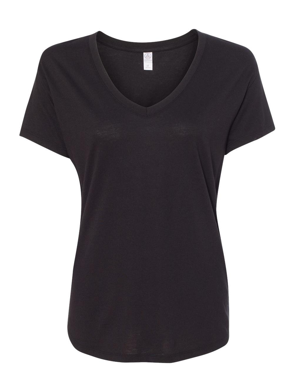 5e37ddd4a03f Alternative 02840mr Ladies' Everyday Cotton Modal V-neck Black M for ...