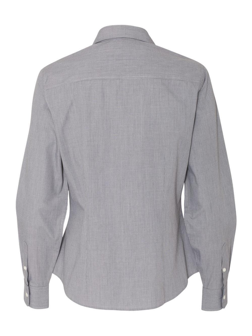 Van-Heusen-Women-039-s-Yarn-Dyed-Mini-Check-Long-Sleeve-Shirt-13V0427 thumbnail 4