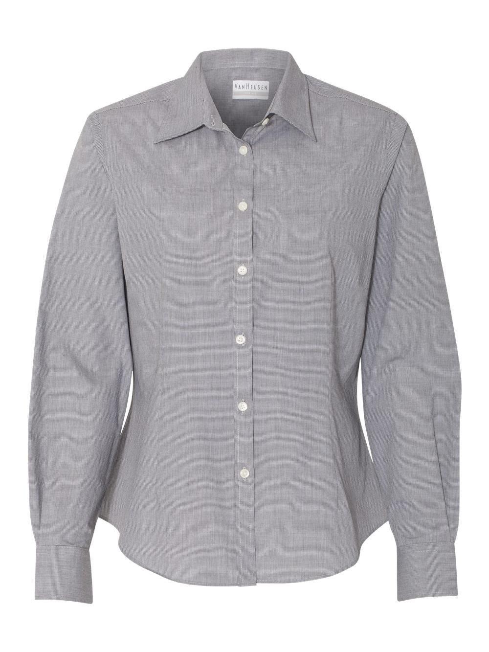 Van-Heusen-Women-039-s-Yarn-Dyed-Mini-Check-Long-Sleeve-Shirt-13V0427 thumbnail 3