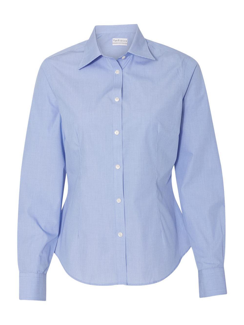Van-Heusen-Women-039-s-Yarn-Dyed-Mini-Check-Long-Sleeve-Shirt-13V0427 thumbnail 6
